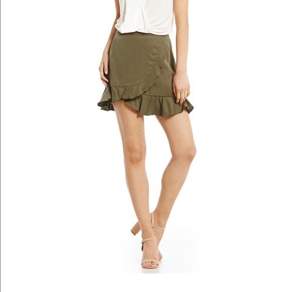 Gianni Bini Dresses & Skirts - 5/$25 Gianni Bini Faux Wrap Olive Ruffle Skirt